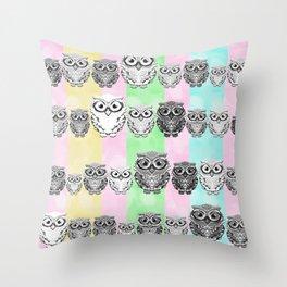Little Hoots Stripes Monochrome Throw Pillow