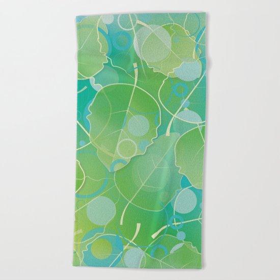 Floating  Green Leaves Pattern - Spring/Summer Beach Towel