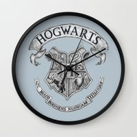 hogwarts Wall Clocks featuring Hogwarts by Cécile Pellerin