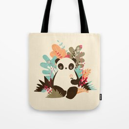 Flower Panda Tote Bag