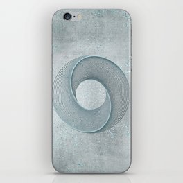 Geometrical Line Art Circle Distressed Teal iPhone Skin