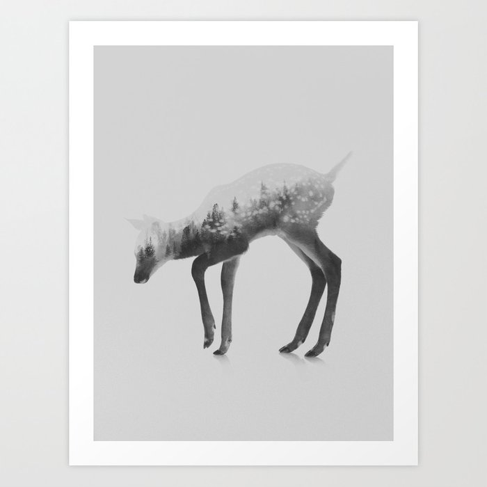 Discover the motif DEER (BLACK AND WHITE) by Andreas Lie as a print at TOPPOSTER