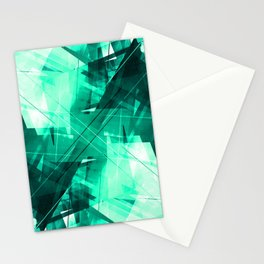 Mint Maze - Geometric Abstract Art Stationery Cards