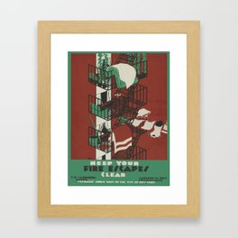 Vintage poster - Keep Your Fire Escapes Clear Framed Art Print