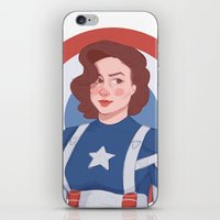 peggy carter iPhone & iPod Skins featuring Captain Peggy Carter by Charlotte Foley