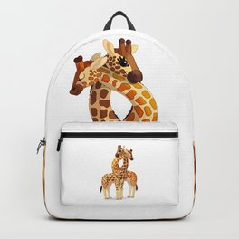 Couple giraffe. Vector graphic character Backpack