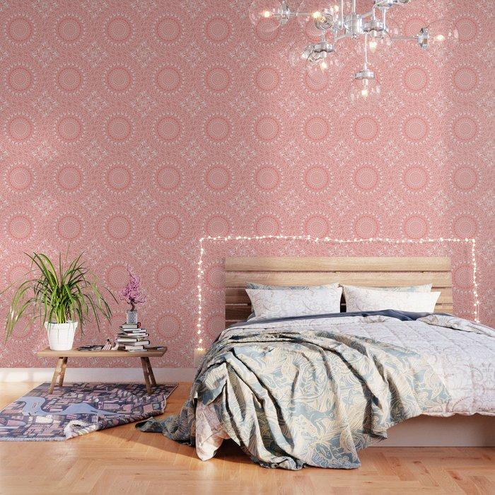 Coral and White Mandala Wallpaper