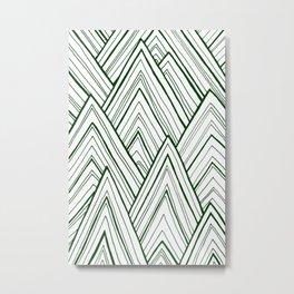 Stripe Mountains - Dark Green Metal Print