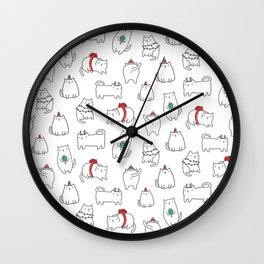 Fat Christmas cats Wall Clock