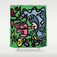 bacon Shower Curtains featuring Bacon Shark! by Ray Kane