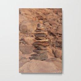 Piled stones in Jordan desert -  Rocks in Wadi Rum - Travel Photography Jordan Metal Print