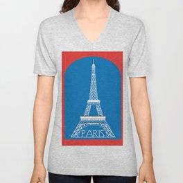 Paris, France - Skyline Illustration by Loose Petals Unisex V-Neck