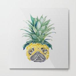 Pineapple  Pug Watercolor Metal Print