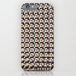 leigh - tan beige black ivory indigo geometric mosaic pattern iPhone Case