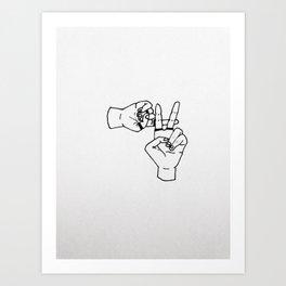 clique hand sign Art Print
