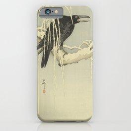 Crow On a Snowy Branch - Ohara Koson [Shoson] (1877-1945) - Japanese woodblock print iPhone Case