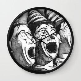 Clown Class (minimalist heavy line sketch) Wall Clock