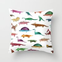 dinosaurs Throw Pillows featuring dinosaurs by victoriazorus