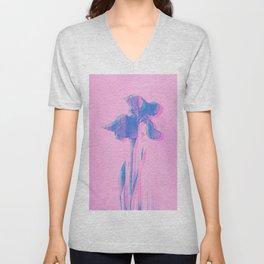Light Blue and Blush Glitched Iris Unisex V-Neck