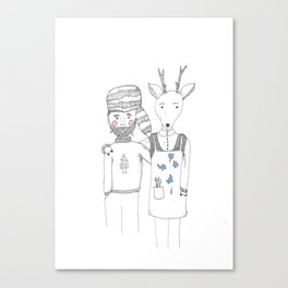 The Deer and The Woodcutter Canvas Print