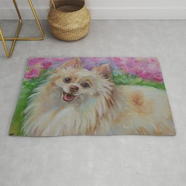 White Pomeranian in the rose garden Cute miniature spitz dog portrait Oil painting on canvas Rug