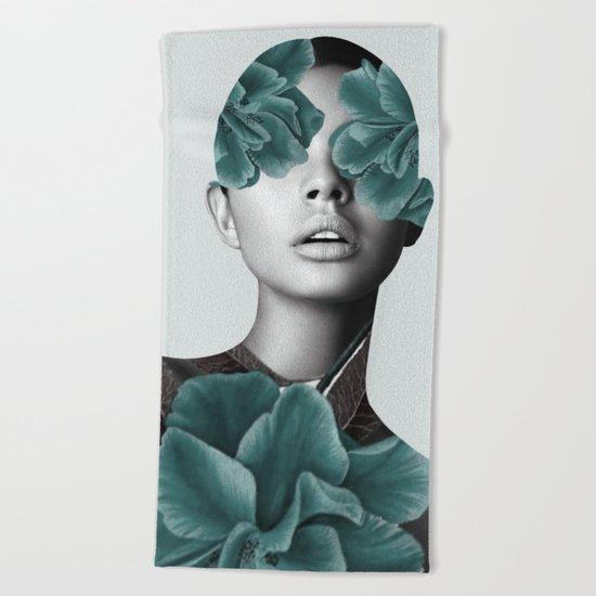 Floral Portrait (woman) Beach Towel