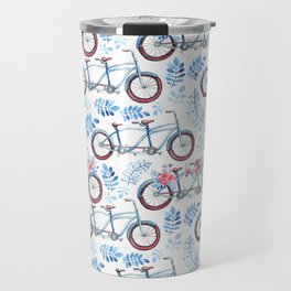 Vintage watercolor pink blue bicycle floral Travel Mug
