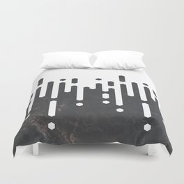 Marble and Geometric Diamond Drips, in Charcoal Grey and White Duvet Cover