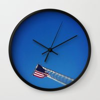 american flag Wall Clocks featuring American Flag by Shelby Rushie