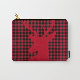 Red Plaid Deer Stag Design Carry-All Pouch