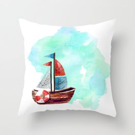 Ship in the Watercolor Throw Pillow