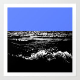 Black Wave w/Light Blue Horizon Art Print