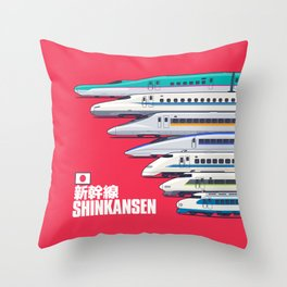 Shinkansen Bullet Train Evolution - Red Throw Pillow