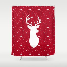 Deer on red . Shower Curtain