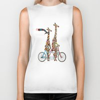giraffe Biker Tanks featuring giraffe days lets tandem by bri.buckley