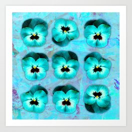 9 turquoise on light blue and violet Art Print