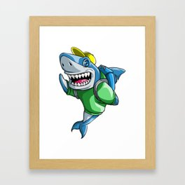 Shark Back to School Kids Pre-School Elementary Framed Art Print
