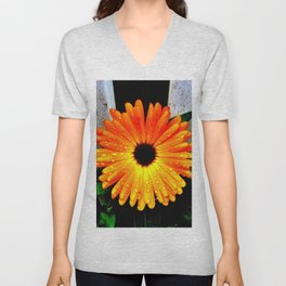 Orange Garden Marigold in the Evening Unisex V-Neck