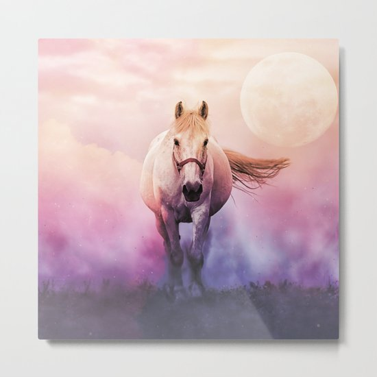 Romantic mystery horse illustration with full moon Metal Print