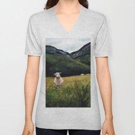 Sheep on a Hill Unisex V-Neck