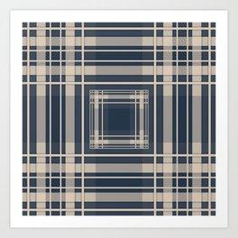 Simple beige blue plaid Art Print