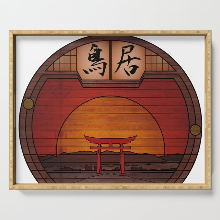 Japanese Torii - Round Landscapes #2 Serving Tray