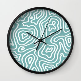 Topographic Abstract | Turquoise Wall Clock