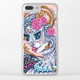 """Unforgettable"" sugar skull portrait of a big eyed woman Clear iPhone Case"