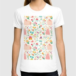 Modern girly pink green hand painted Easter rabbit floral T-shirt