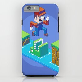 Isometric Mario pixel art iPhone Case
