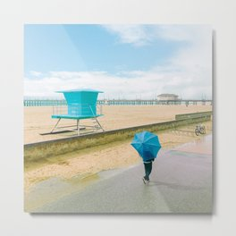 Blue umbrella on the beach Metal Print