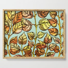 Hand drawn watercolor  golden leaves Serving Tray