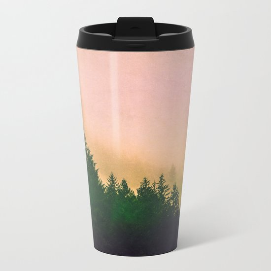 Cascadia Green Trees and Sunset Metal Travel Mug