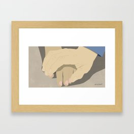 That moment when he tentatively reaches to hold her hand for the first time... Framed Art Print